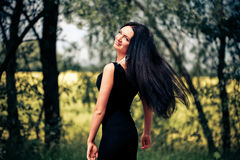 Woman with fluttering hair Royalty Free Stock Photography