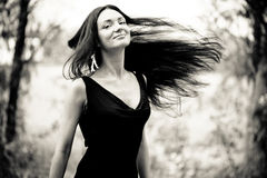 Woman with fluttering hair Royalty Free Stock Photo
