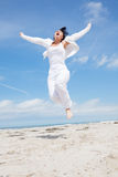Woman fly jump active Royalty Free Stock Photo
