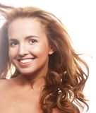 Woman  with  flying blond hair. Royalty Free Stock Photography