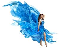 Woman Flying Blue Dress, Elegant Fashion Model Fluttering Gown