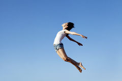 Woman flying with copy space Royalty Free Stock Photography