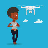 Woman flying drone vector illustration. Royalty Free Stock Photo