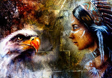 Woman and flying eagle,  illustration and abstract wall backgrou Royalty Free Stock Image