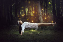 Woman flying with forest fairies stock photography