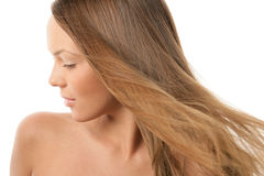 Woman with flying hair royalty free stock images