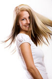 Woman with flying hair Royalty Free Stock Photos