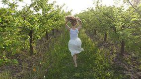 Woman with flying hair running in spring orchard stock video