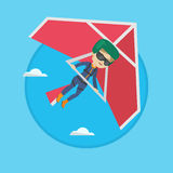 Woman flying on hang-glider vector illustration. Stock Image
