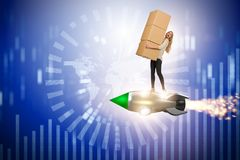 The woman flying jetpack and delivering boxes globally Royalty Free Stock Photos