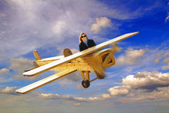 Woman in flying machine Royalty Free Stock Photos