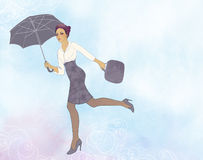 Woman flying in open air with umbrella Royalty Free Stock Photos