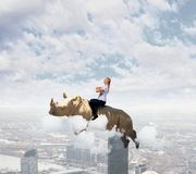 Woman flying rhino Royalty Free Stock Image