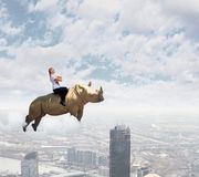 Woman flying rhino Stock Image