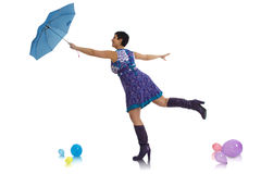 Woman flying with umbrella Royalty Free Stock Images