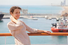 Woman in focus. ships in Qaboos Port out of focus Royalty Free Stock Photography