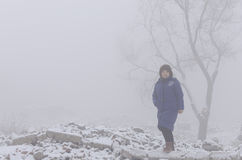 Woman in the fog Royalty Free Stock Photography