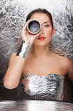 Woman in foil wear. royalty free stock images