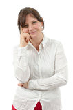 Woman with folded arms. An isolated attractive woman with folded arms Royalty Free Stock Image