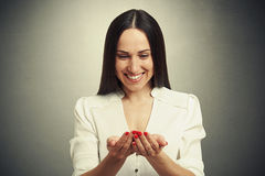 Woman folded her hands and looking Royalty Free Stock Photo