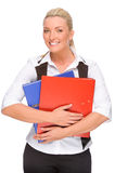 Woman with folder Royalty Free Stock Image