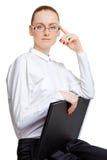 Woman with folder Stock Photos