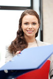 Woman with folder. Bright picture of beautiful woman with folder Royalty Free Stock Photos
