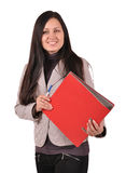 Woman with a  folder. Woman with a pen and a folder isolated on white background Stock Photography