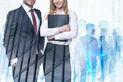 Woman with folder and colleague in city, graph royalty free stock photography