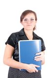 Woman with a folder, isolated. Royalty Free Stock Images