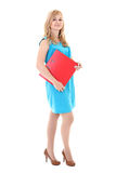 Woman with folder isolated over white Royalty Free Stock Photography