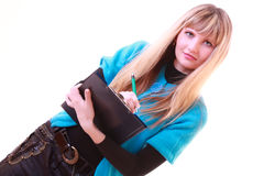 Woman with folder and pen isolated Royalty Free Stock Photos