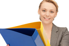 Woman with folders Royalty Free Stock Photography