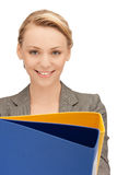 Woman with folders. Bright picture of beautiful woman with folders Royalty Free Stock Image