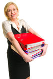 Woman and folders Royalty Free Stock Photo