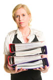 Woman and folders Royalty Free Stock Photography
