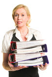 Woman and folders Royalty Free Stock Photos