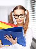 Woman with folders. Bright picture of beautiful woman with folders Stock Photo