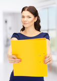Woman with folders Royalty Free Stock Photo