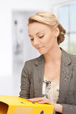 Woman with folders. Bright picture of beautiful woman with folders Royalty Free Stock Photography