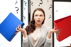 Woman with folders Royalty Free Stock Image