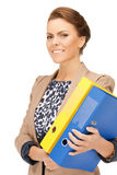 Woman with folders Royalty Free Stock Images