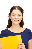 Woman with folders Stock Image