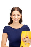 Woman with folders Stock Photo