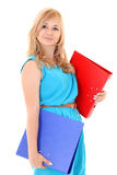 Woman with folders isolated over white Royalty Free Stock Image