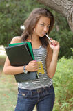 Woman with folders outdoors stock image