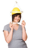 Woman with folding rule Stock Photography