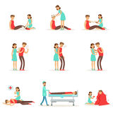 Woman Following Firs Aid Primary And Secondary Emergency Treatment Procedures Collection Of Infographic Illustrations. Rescue And Problem Management Situations Royalty Free Stock Photos
