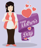Woman Fondling her Belly with a Ribbon for Mother's Day, Vector Illustration Stock Photography