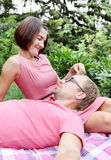 Woman Fondling Man on Picnic Stock Images